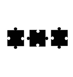 puzzle pieces icon on white background flat vector image