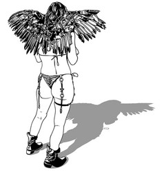 Rear view a woman with wings vector