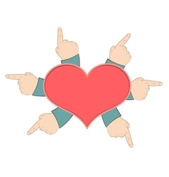 Red heart with hands vector