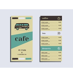 Restaurant and cafe menu Flat design Rv park and vector