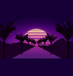 retro futuristic tropical road with mountains vector image