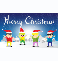 Santa claus and childen hello merry christmas vector