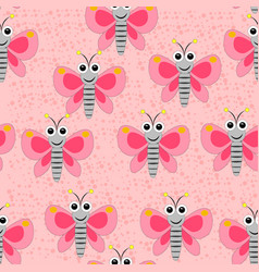 Seamless butterfly pattern on the pink spotted bac vector