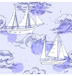 Seamless pattern with waves and ships-04 vector image