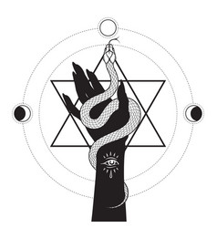 Serpent in female hand over six pointed star vector