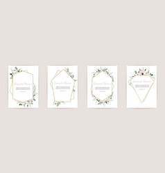 Set botanic card with wild flowers leaves floral vector