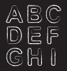 Set chalk hand drawing alphabet vector