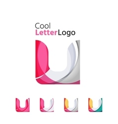 Set of abstract U letter company logos Business vector image