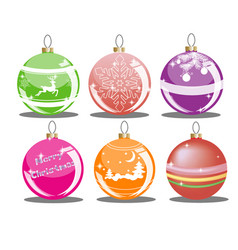 set of christmas balls of different colors with dr vector image