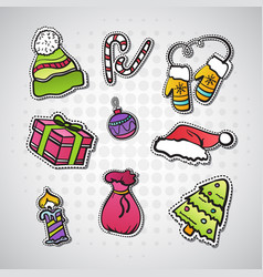 Set of christmas stickers new year badges and vector