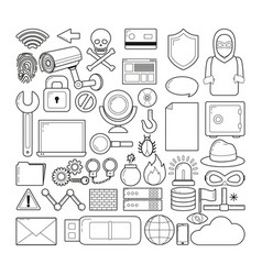 Set of cyber security icons vector