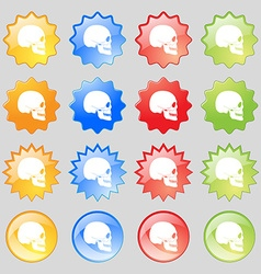 Skull icon sign Big set of 16 colorful modern vector image