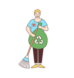 smiling male volunteer with broom and recycling vector image