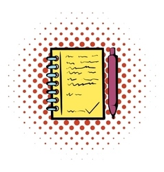 Spiral notebook and ballpoint pen icon vector image