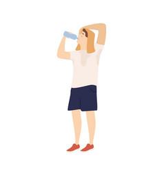 Sportsman drinking water from bottle feeling vector