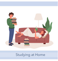 student teen people study together boy holding vector image
