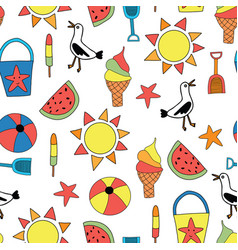 summer objects seamless pattern sand vector image
