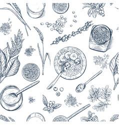 Superfood seamless botanical pattern vector