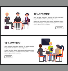Teamwork promo internet banners with office staff vector