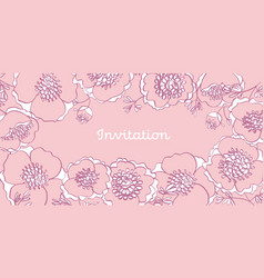 Tender pale rosy color line-art peony flowers vector