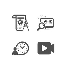 Time management divider document and search icons vector