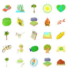 Tourist life icons set cartoon style vector