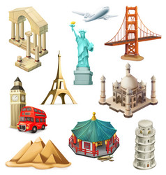 Travel tourist attraction 3d icon set vector
