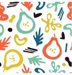 Trendy pears background doodle fruits abstract vector