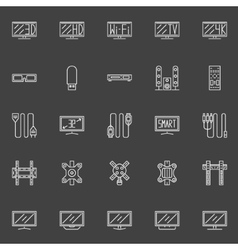 TV line icons vector