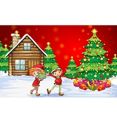 Two playful dwarves near the christmas trees vector image