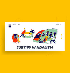 Vandalism and anger landing page template vector