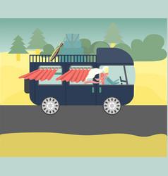 Vintage campervan driving happy women on road vector