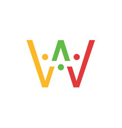 W letter people team family together human logo vector