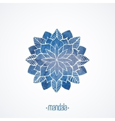 Watercolor blue flower symbol mandala vector