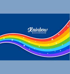 Wavy colorful rainbow background design vector