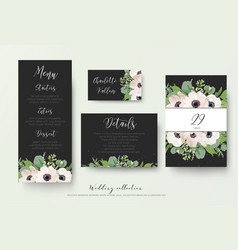 Wedding menu details information escort place vector