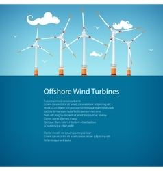 Wind Turbines at Sea Poster Brochure Design vector