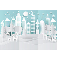 Winter holiday snow in city town background with vector
