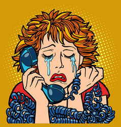Woman crying human emotions telephone vector