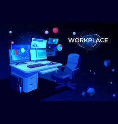 workplace with computer table pc monitors armchair vector image