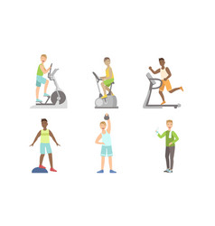 young men doing fitness exercises in gym set guys vector image