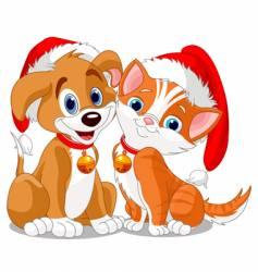 Christmas dog vector image vector image