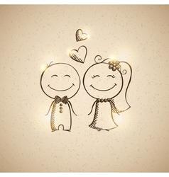 Hand drawn wedding couple vector