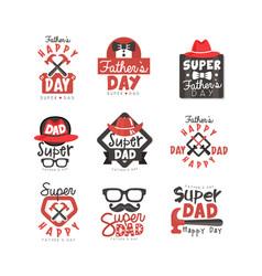 happy fathers day logo set super dad vector image