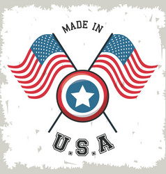 made in usa flag crossed with shield star emblem vector image vector image