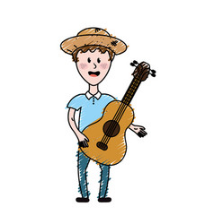 Man with hat and guitar instrument vector