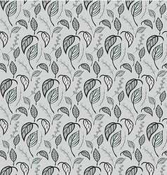 Seamless floral pattern with hand drawn leaves vector image vector image
