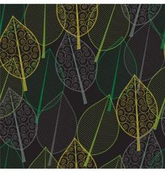 seamless pattern of green and yellow leaves vector image
