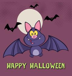smiling vampire bat cartoon character flying vector image