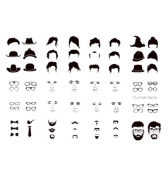 elements of a person face men vector image vector image